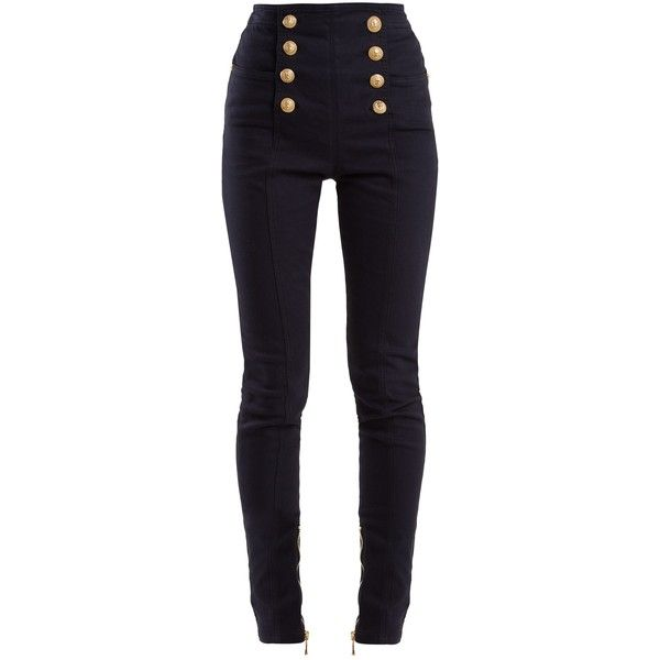 Balmain High-rise skinny-leg jeans (163090 RSD) ❤ liked on Polyvore featuring jeans, pants, bottoms, navy, balmain jeans, navy blue jeans, high rise jeans, high-waisted skinny jeans and cuffed skinny jeans