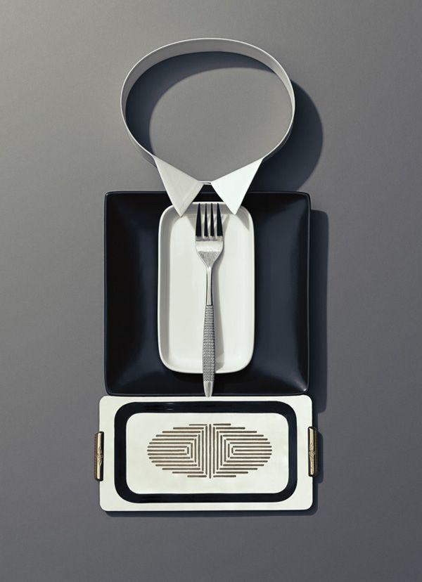 Dinner Etiquette, Photos of Tableware as People in Formal Attire