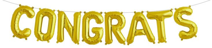 Balloons are just so festive and our Gold Congrats Balloon Banner is perfect for so many occasions. Who has a graduating senior or a wedding shower? Maybe a baby on the way? New job? New house? New si