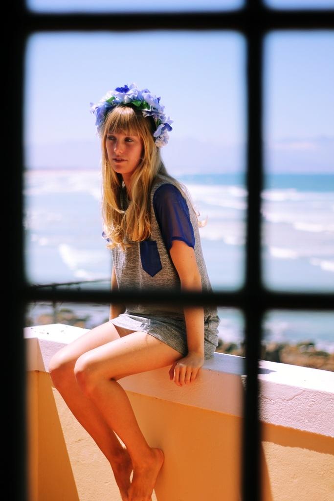 T-shirt dress by me, Floral head piece by 'Alison Rachel Stewart'