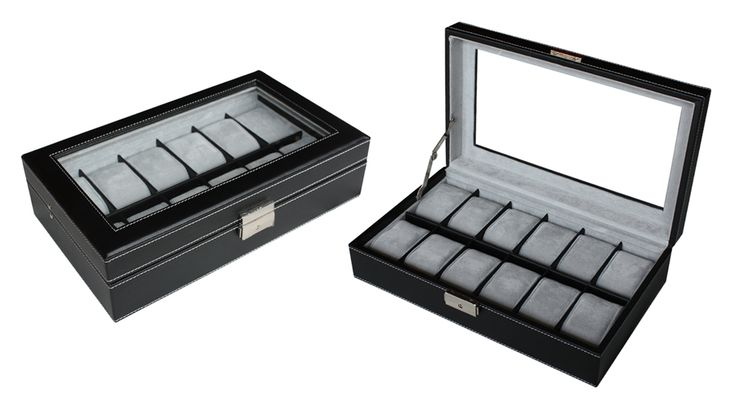 Luxury Black leather watch box display Watches case 12 watches  $79.95  Size: 325*190*80 mm Elegant design with black faux leather finished Pillow size 45x70mm Store up to 12 watches Crystal Clear acrylic top brilliant Soft gray velvet