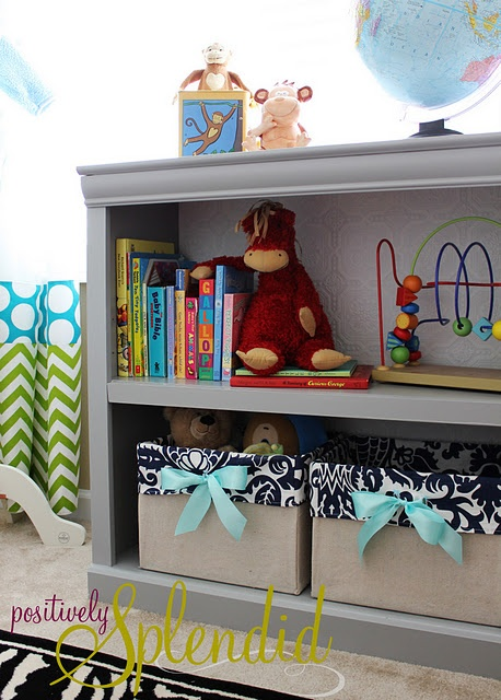 Tutorial for making canvas-lined bins from diaper boxes - good idea to make from paper ream boxes for filing, etc. (I can also spice up those cheap shelves from Walmart with a little paint and some molding!!)