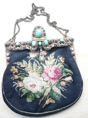 19C Purse - Berlin Work with Roses and Jeweled Frame