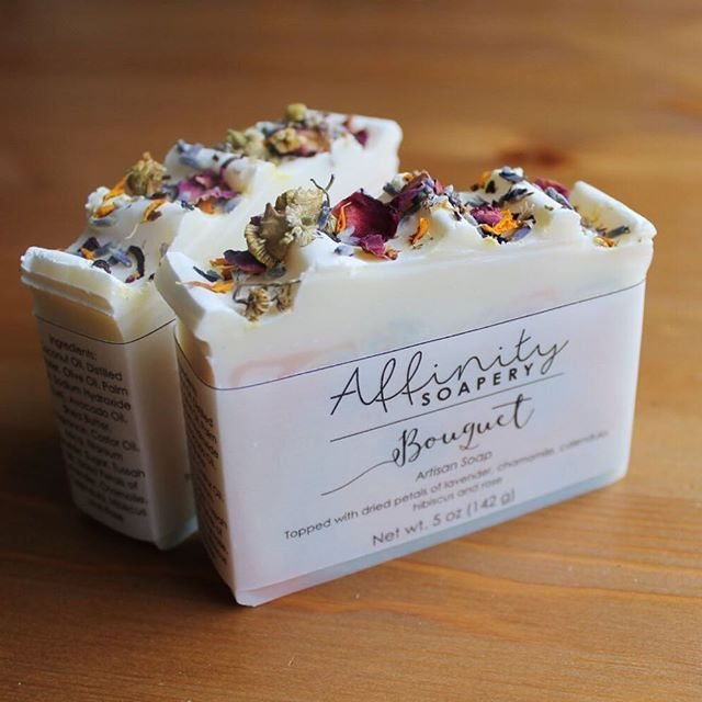 Bouquet // lightly scented floral soap, topped with dried petals of lavender, chamomile, hibiscus, rose, and calendula. Now listed in the shop