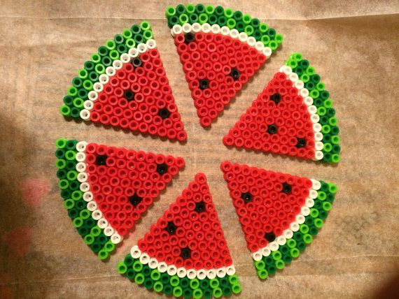 Watermelon magnets perler beads by BayCollections1