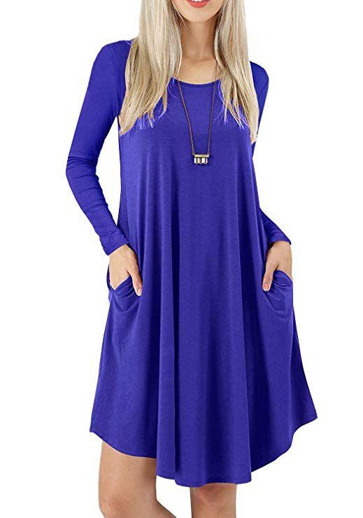 8da714fc4a TASAMO Women s Long Sleeve Pocket Casual Loose T-Shirt Dress (M ...