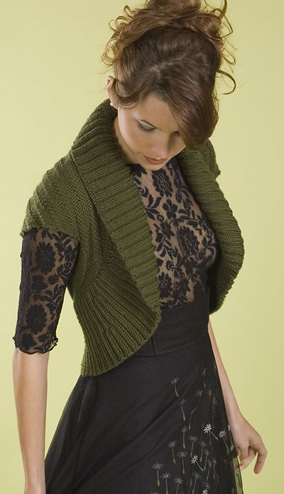 Free knitting pattern for Shawl Collar Chevron Shrug - Back has a chevron stitch pattern. Knit in a rectangle then fold and seam to form shrug.