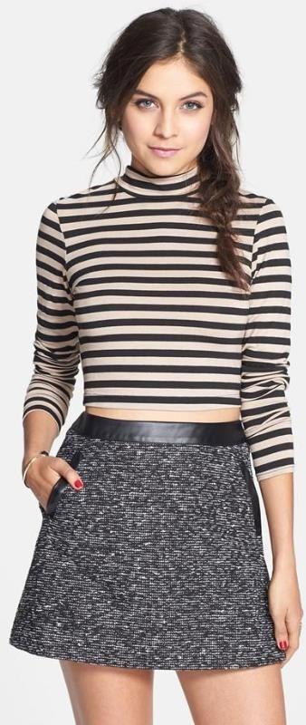 Faux Leather Trim Tweed Miniskirt