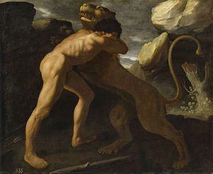 Hércules lucha con el león de Nemea, por Zurbarán.jpg