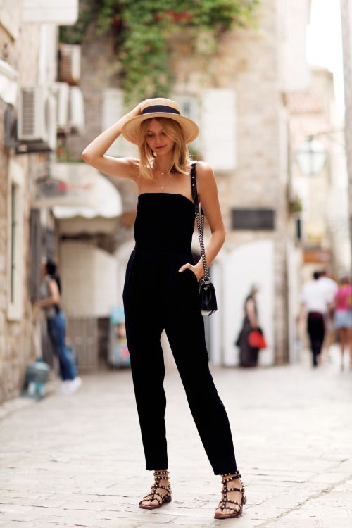 Italy Zara jumpsuit, Sam Edelman sandals, Boater Hat from boutique in Soho NYC), Jennifer Zeuner Mini Eye & Hamsa Necklace