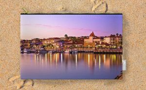 Marina Sunset, Mindarie Marina Carry-All Pouch design by Dave Catley featuring a…