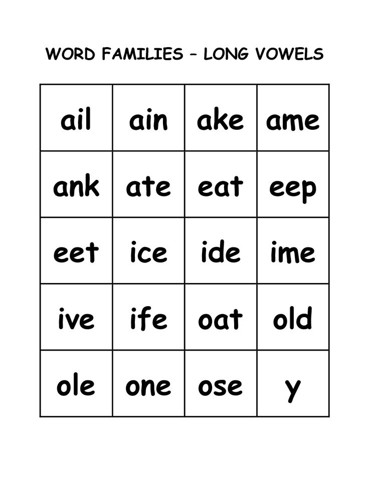 Long vowels, Word families and Worksheets on Pinterest
