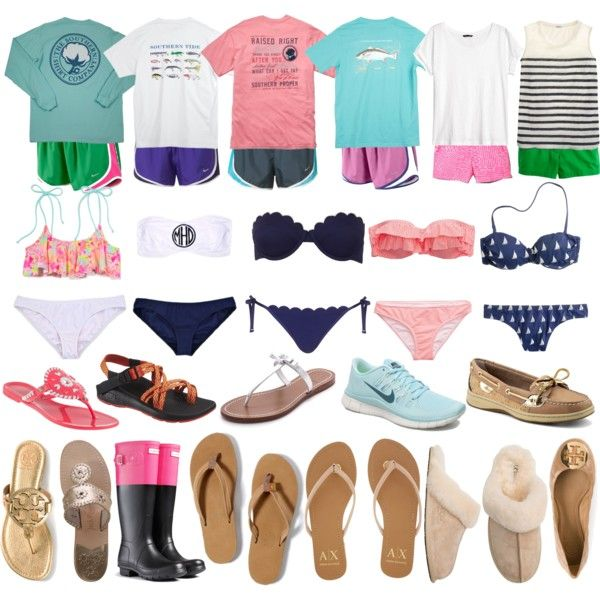 Beach Trip: Part 1 by elizabethjamesw on Polyvore featuring Southern Proper, H&M, J.Crew, Aerie, Victoria's Secret PINK, Topshop, American Eagle Outfitters, NIKE, UGG Australia and Armani Exchange