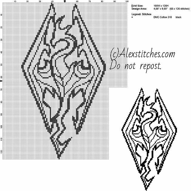 Symbol Skyrim dragon videogames free cross stitch pattern 100x126 1 color
