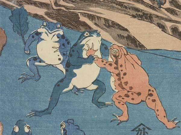 【江戸妖怪大図鑑/カエルが大好きな皆さまへ】第3部「妖術使い」ではカエルがたくさん登場します。カワイイものから不気味なものまで150匹以上。ここまでカエルの浮世絵が集まるのは初めてでは?紹介するのは国芳が描いた相撲を取るカエルです。 pic.twitter.com/ntqygFmhsf