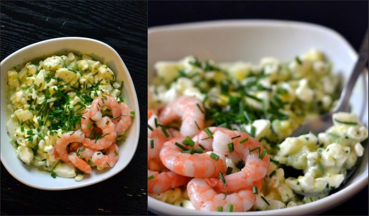 egg salat wih shrimps and apple. summer food. party food. delicious recipe.