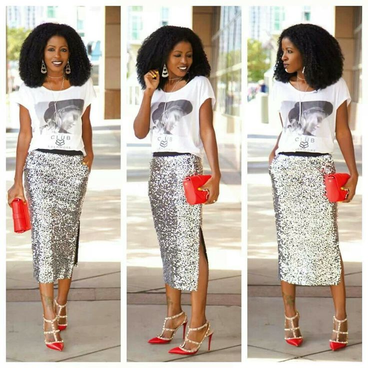 Graphic tee and sequin midi skirt. Style Pantry