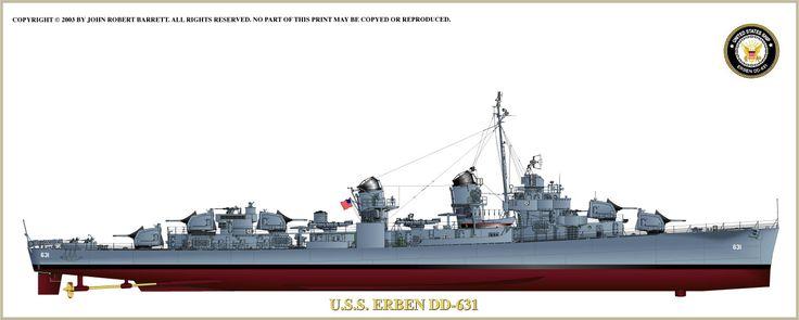 USS Erben, a Fletcher Class destroyer, built by Bath Iron Works in Bath, Maine, as she appeared in late World War II. Illustration by John Barrett.