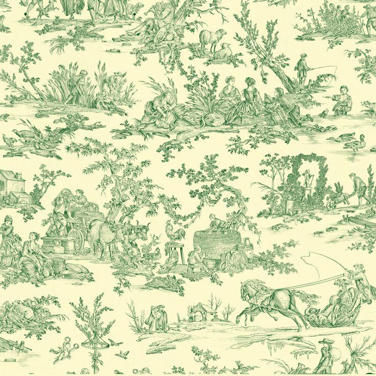 Toile de Jouy - Délices des 4 Saisons vert foncé