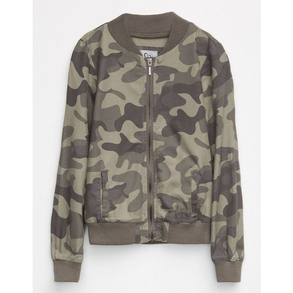 Full Tilt Twill Camo Girls Bomber Jacket ($21) ❤ liked on Polyvore featuring outerwear, jackets, camo print bomber jacket, camo jackets, camo flight jacket, flight jackets and collared bomber jacket
