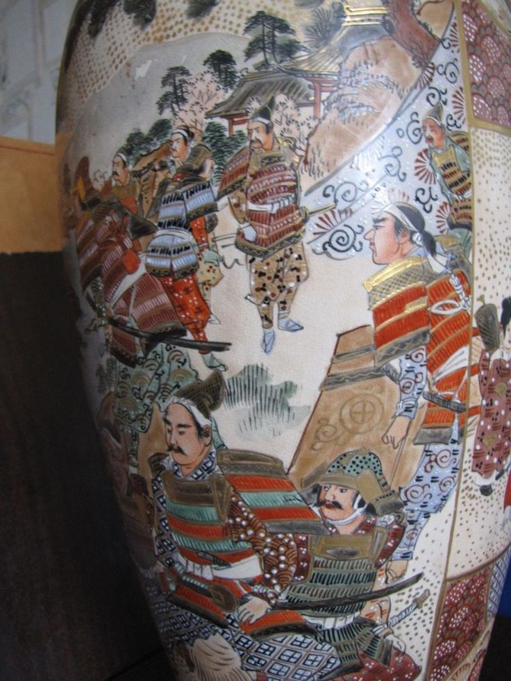 Antique Japan Satsuma Floor Vase Bodenvase handmade painting Japanese Samurai #Satsuma