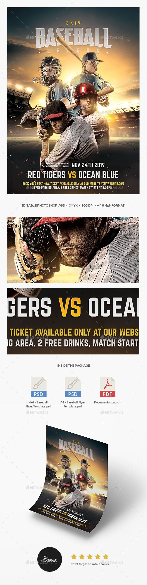 Baseball Flyer — Photoshop PSD #flyer #poster • Available here ➝ https://graphicriver.net/item/baseball-flyer/20620988?ref=pxcr