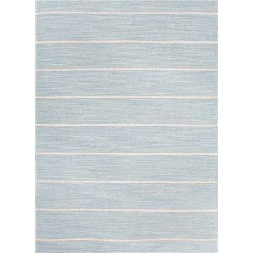 Handmade Flat Weave White Stripe Woolen Rug in Porcelain Blue - 152x243cm