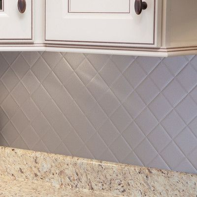 """Fasade Quilted 18.25"""" x 24.25"""" PVC Backsplash Panel Kit in Argent Silver"""