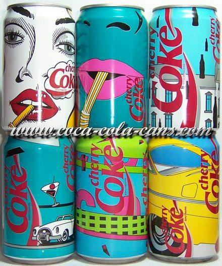 retro coke cans. Love these. How pretty.