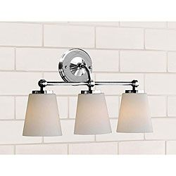 @Overstock.com - Chrome Bathroom Triple Sconce - Create a warm ambiance in your bathroom with this elegant bathroom sconce. The chrome finish has a slightly modern look, while the three white shades add a simple and tasteful appearance, and the light adds a warm glow to you bathroom space.  http://www.overstock.com/Home-Garden/Chrome-Bathroom-Triple-Sconce/4044132/product.html?CID=214117 $85.49