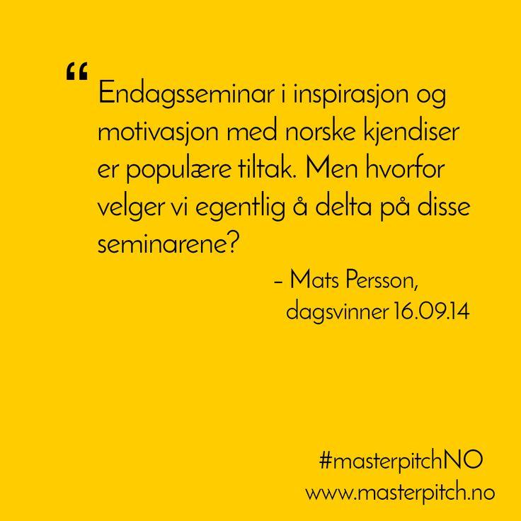 #dagenspitch 16.09! Gratulerer Mats Persson!