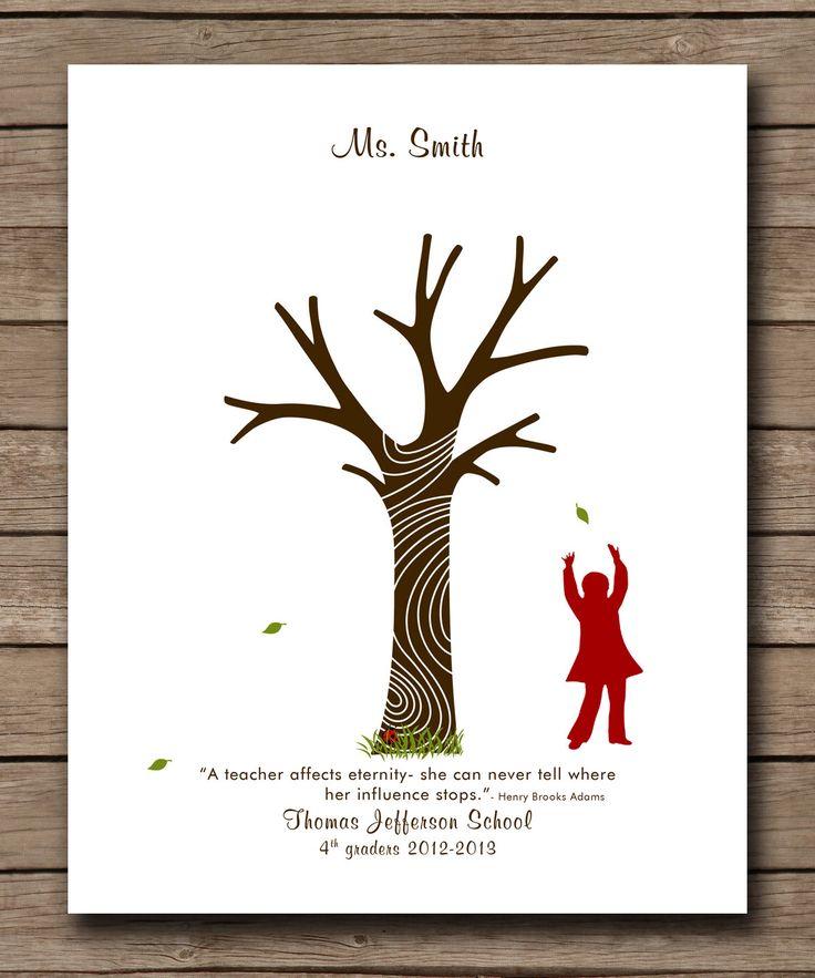 """Personalized School Teachers Appreciation Gift, Fingerprint Tree, kindergarten gift, Print Art 8""""x10"""" by WordsWorkPrints on Etsy https://www.etsy.com/listing/109501746/personalized-school-teachers"""
