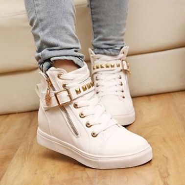 Women's Leisure Lace Up Rivet and Zip Decorated Comfortable Flat Shoes with Buckle on DressLuck.com