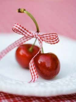 cherries with a gingham ribbon