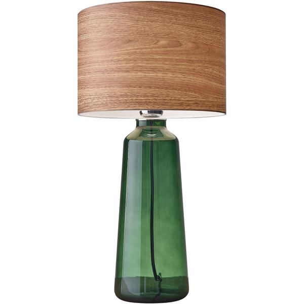 A versatile statement piece, the Julius tall table lamp fits into todayí´s casual, earthy, and retro rooms. The bottle green painted glass adds a jewel tone to any space while the wood toned shade con