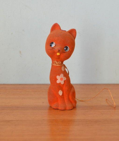 Retro kitsch felt cat money box