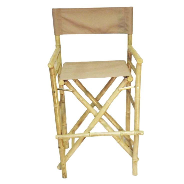 Bamboo folding bar stool with natural canvas set