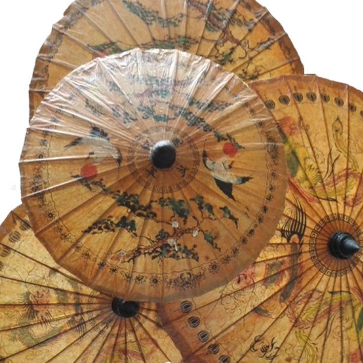 Thailand Handmade Oiled Paper Umbrella Ancient Classic Lasting Appeal Sun Umbrella Exquisite Printing Dance Decorative Umbrella