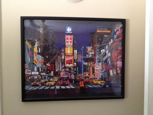 Modge Podging Puzzles and turning them into art.  This one is Time Square.