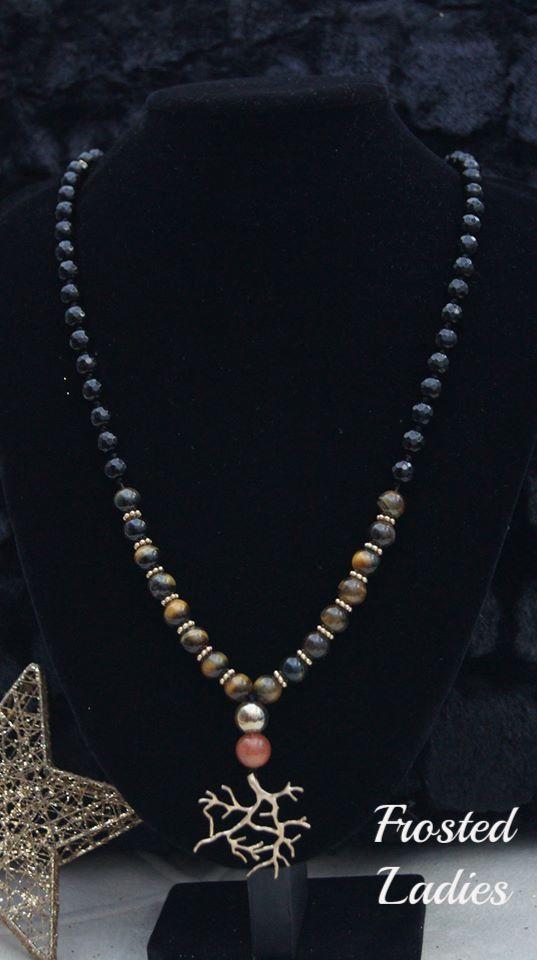 ❤Life Χειροποίητο κολιέ φτιαγμένο από ημιπολύτιμες πέτρες Tiger's eye 8mm, μαύρο αχάτη 8mm, golds and 10mm, AB gold 10mm, tree's branch mat gold, mat gold details. Πολύ ιδιαίτερα, πρωτότυπα και μοναδικά κοσμήματα για κάθε περίσταση.