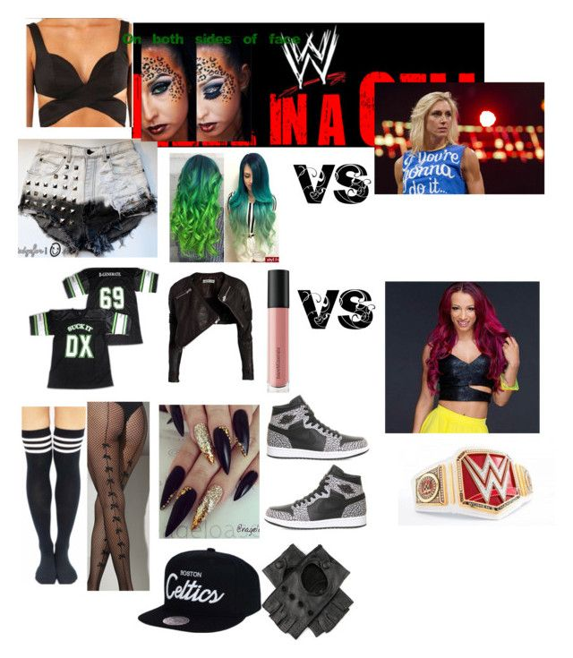 """""""RAW'S WOMEN CHAMPIONSHIP MATCH INSIDE HELL IN A CELL"""" by beautyria03 on Polyvore featuring WWE, Black, NIKE and Bare Escentuals"""