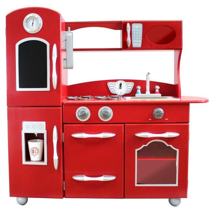 Teamson Kids Wooden Play Kitchen Set Red - TD-11414R, Durable
