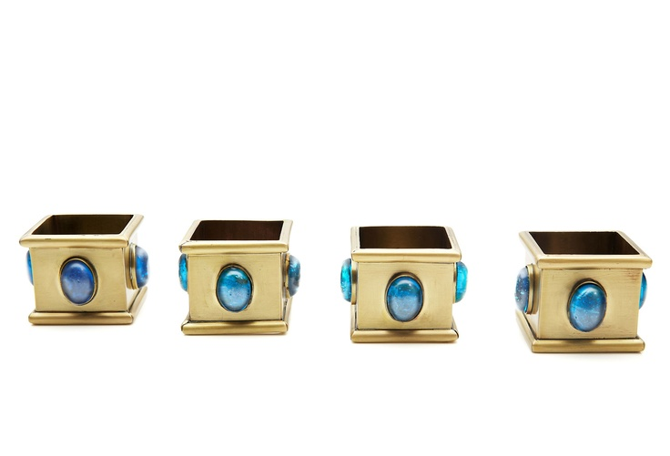 Martyn & Mary - Set of 4 Square Napkin Rings, Sapphire