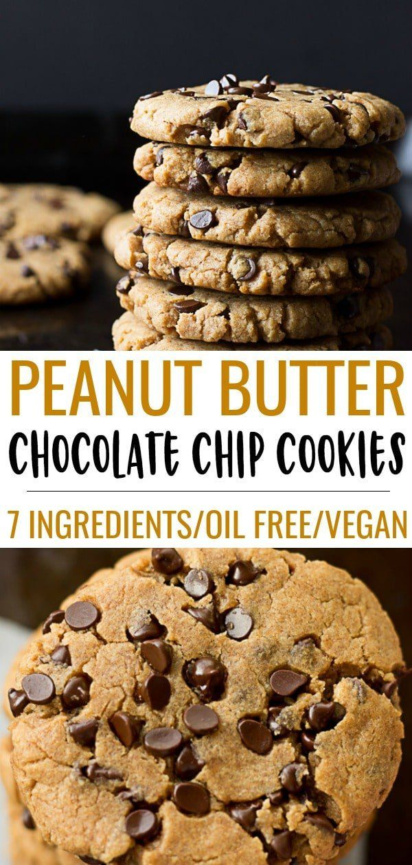 Oil Free Peanut Butter Chocolate Chip Cookies-7 in…
