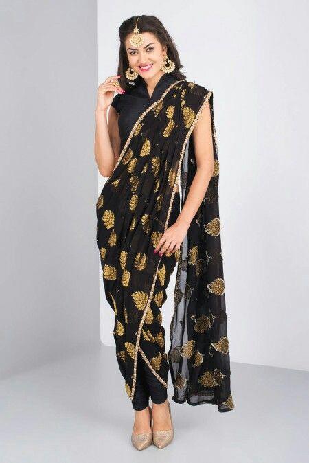 SHAISTA JALAL QAZI - black draped sari