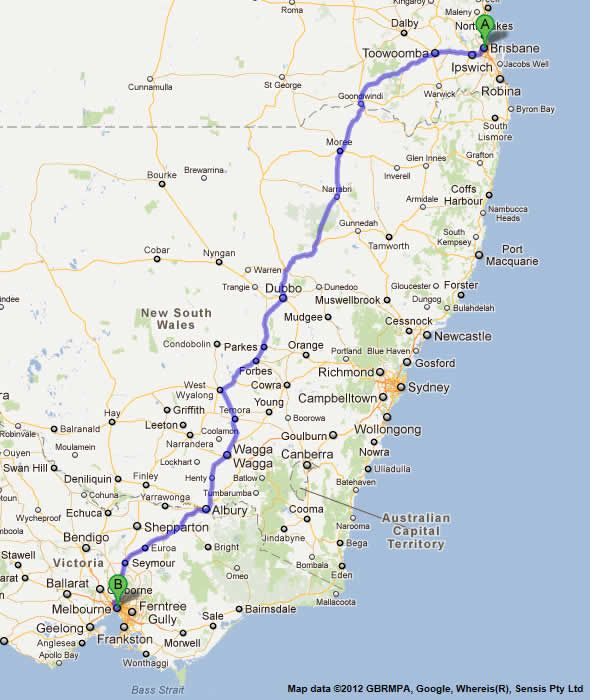 Melbourne to Brisbane Road Map. I took a 24 hour bus trip from Melbourne to Brisbane back in the '80's. Movies on the double decker. Electrical system went out at night, they ran out if blankets, I thought I would never be warm again. (lsheppler)