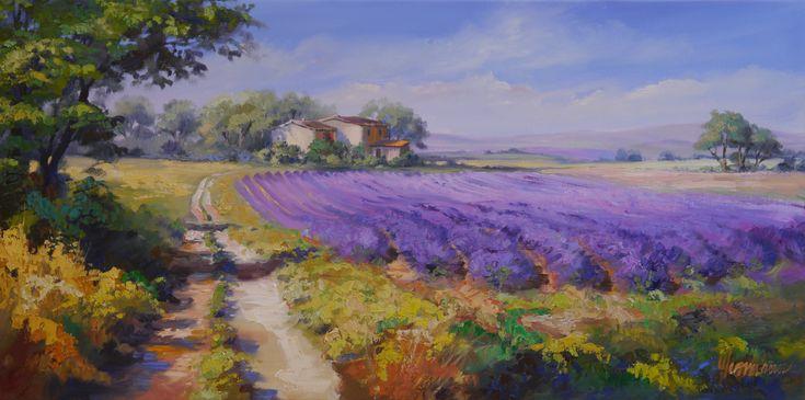 Lavendelfelder im Licht der Provence. Strahlendes blauviolett empfängt den Besucher - Lavendelhonig ist übrigens sensationell lecker - Sonntags auf Croissant - hmmmmm :)   Ölgemälde von Ute Herrmann #provence # oilpainting