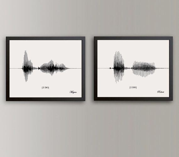 Great idea! :) send them a personalized recording for your loved one and they will turn it into an art piece. I DO Wedding Vow Sound Wave Art Vow by ArtsyVoiceprint