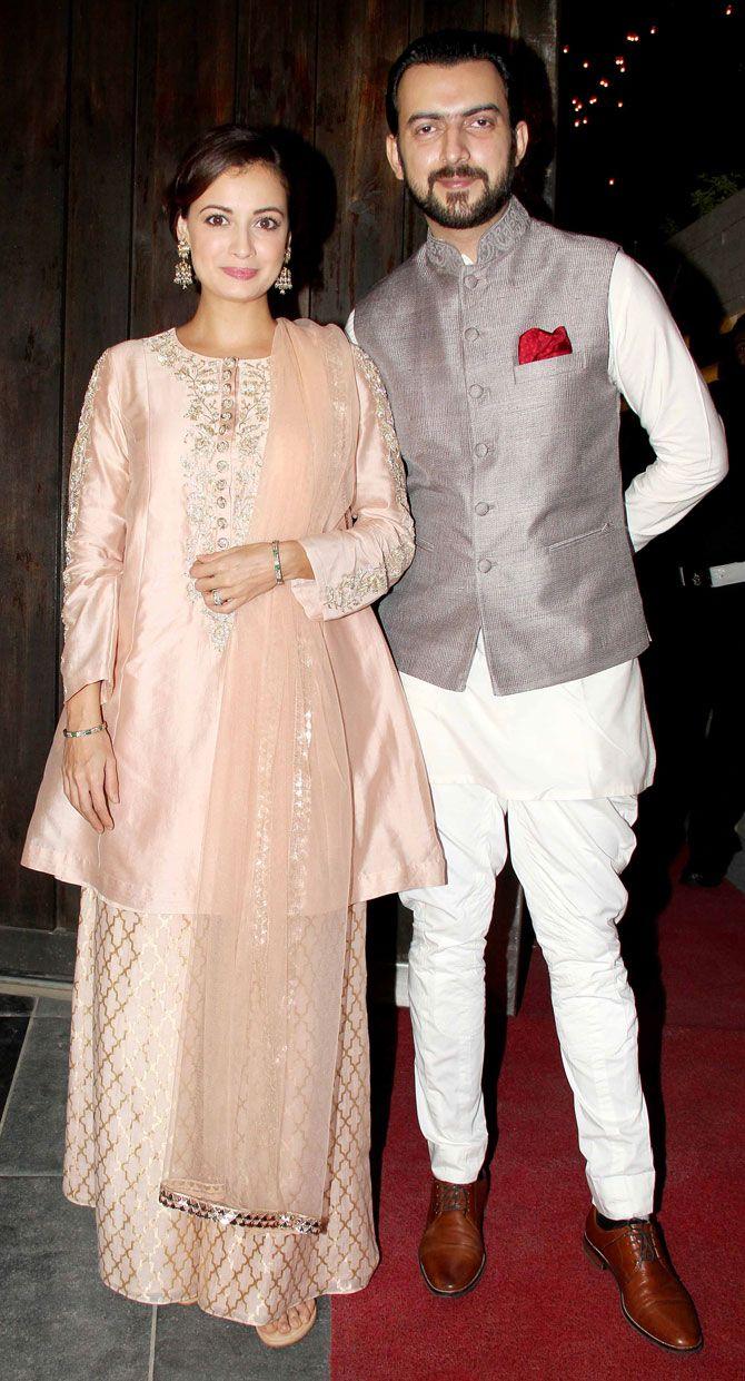Dia Mirza and Sahil Sangha at Sushil Gupta's #Diwali bash. #Bollywood #Fashion #Style #Beauty #Hot #Desi #Cute