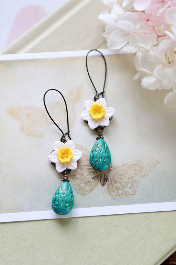 Daffodil Earrings, White Yellow Daffodil Turquoise Green Teal Green Gold Etched Teardrop Bead Dangle Earrings, Daffodil Jewelry on Etsy, $19.00